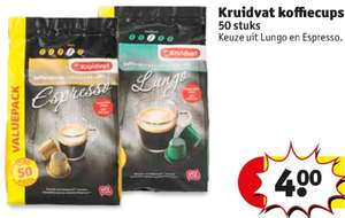 Kruidvat koffiecups 50 kopjes voor €4