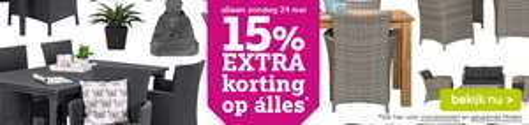 15% korting op alles (+ €15 extra korting) @ leenbakker