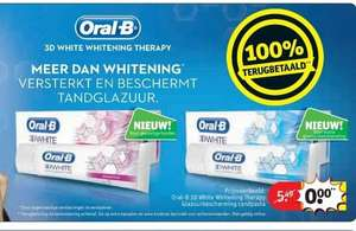 [Grensdeal] Gratis Oral B 3D White Whitening Therapy (Twv €5,49)