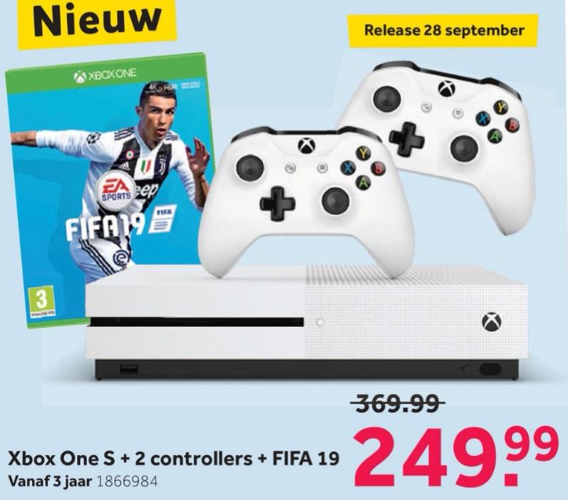 Xbox One S 1TB Console + 2 Controllers + FIFA 19 voor €249,99 @ Intertoys (vanaf maandag)