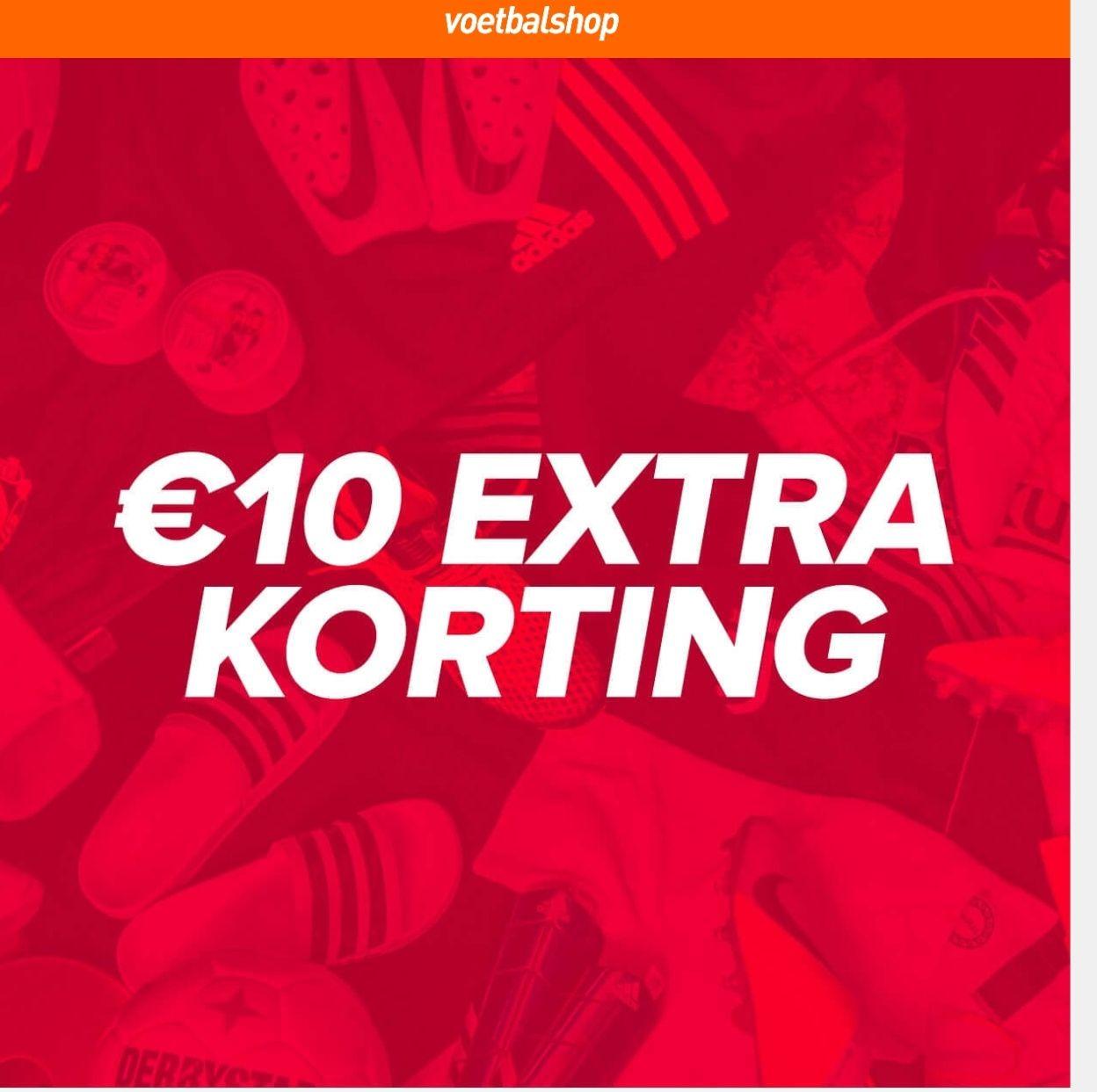 10 euro korting op alles bij voetbalshop.nl