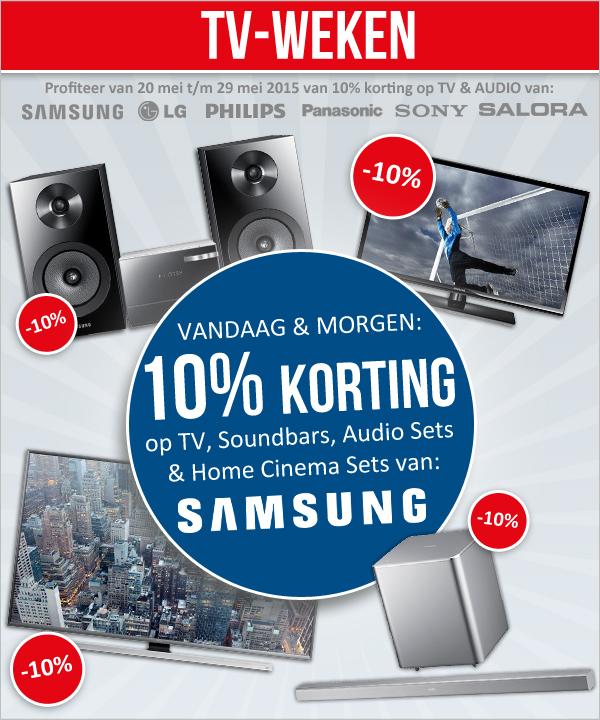 Alleen vandaag en morgen 10% korting op Samsung TV & Audio @ Modern