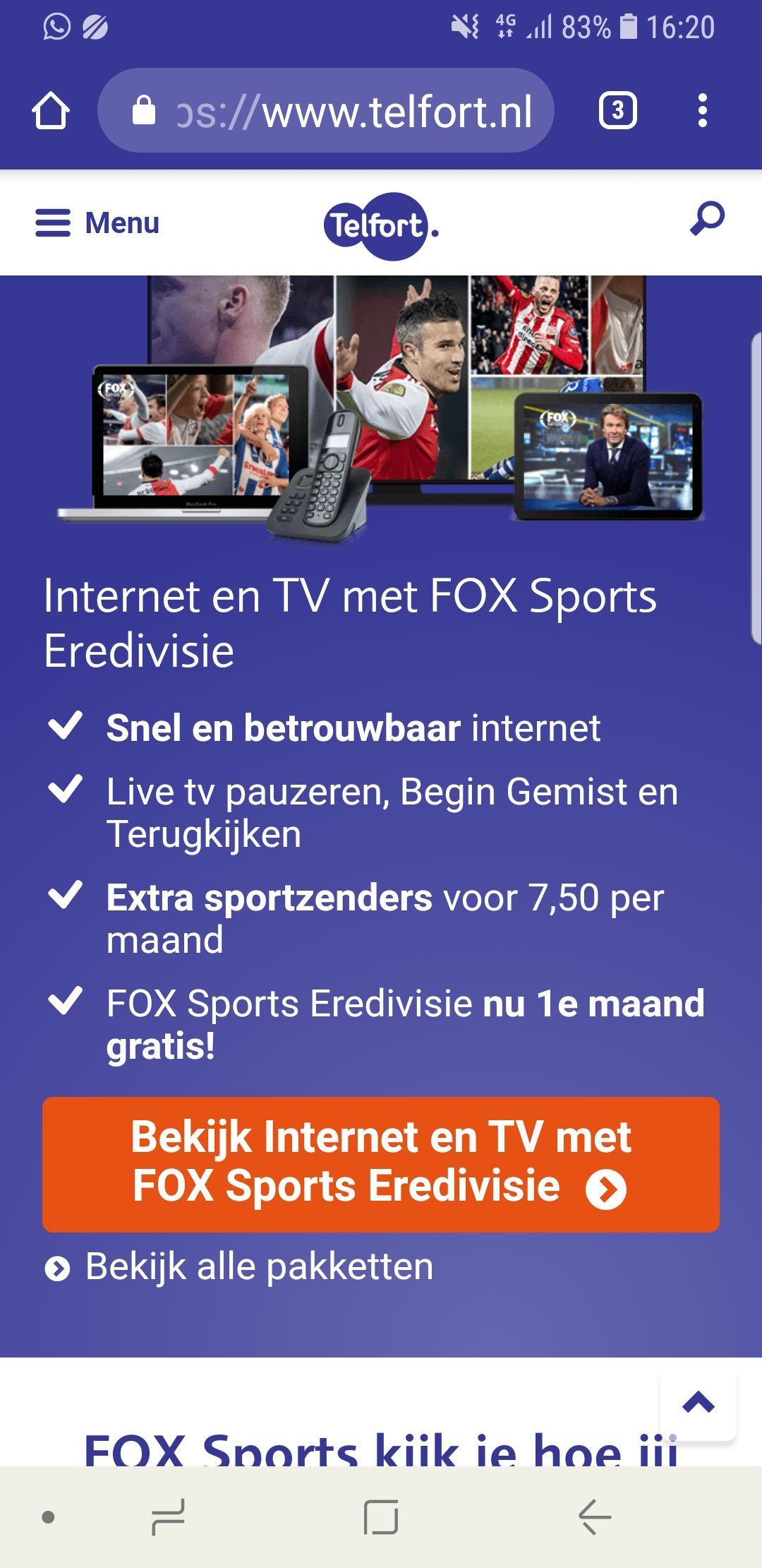 FOX Sports Eredivisienu 1e maand gratis