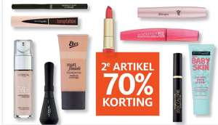 Alle make-up nu 2e artikel 70% korting || Etos