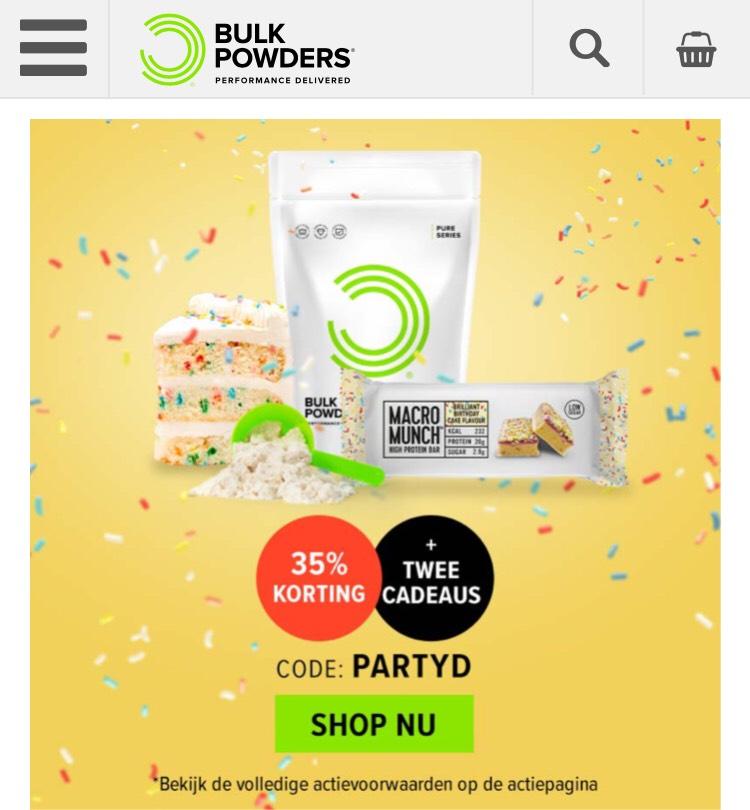 35% korting op alles bij Bulkpowders
