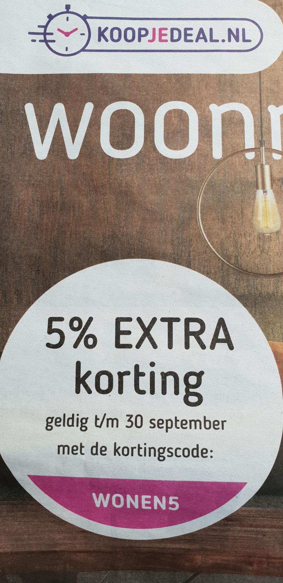 5% extra korting koopjedeal.nl
