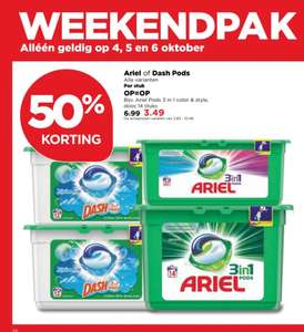 50% korting op Ariel of Dash Pods @Plus