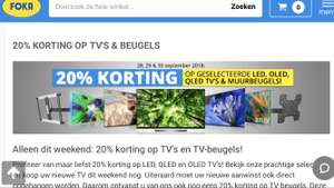 20% korting op veel tv's en muurbeugels bij FOKA