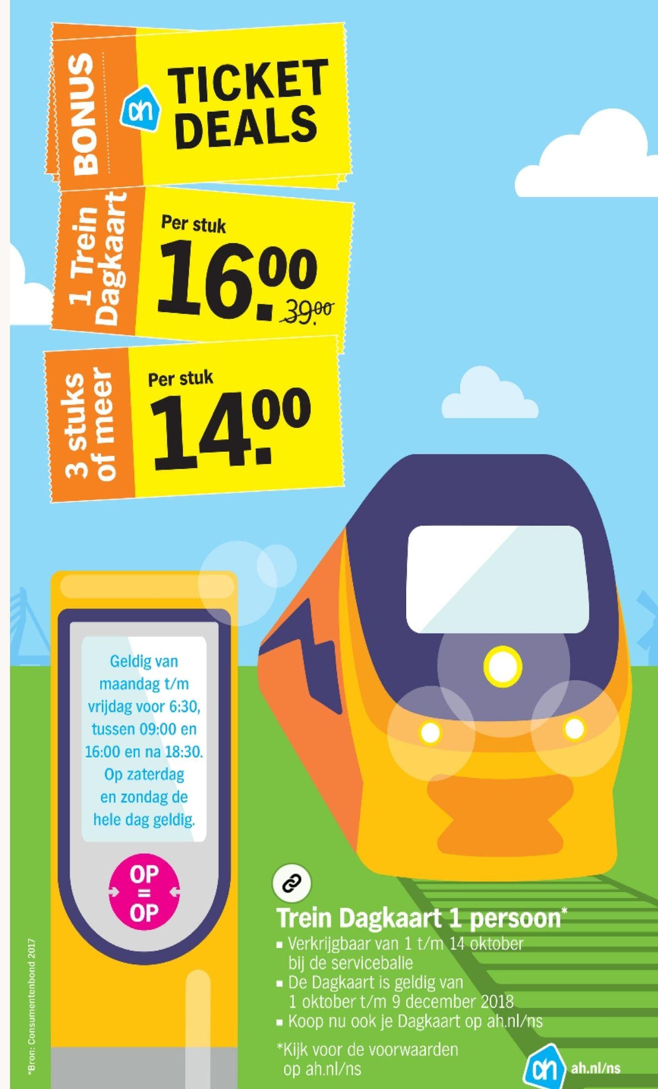 1 Trein Dagkaart voor €16*. Bij aankoop van 3 stuks of meer: €14 per stuk! Bij Albert Hein in de winkel nog te koop!!!