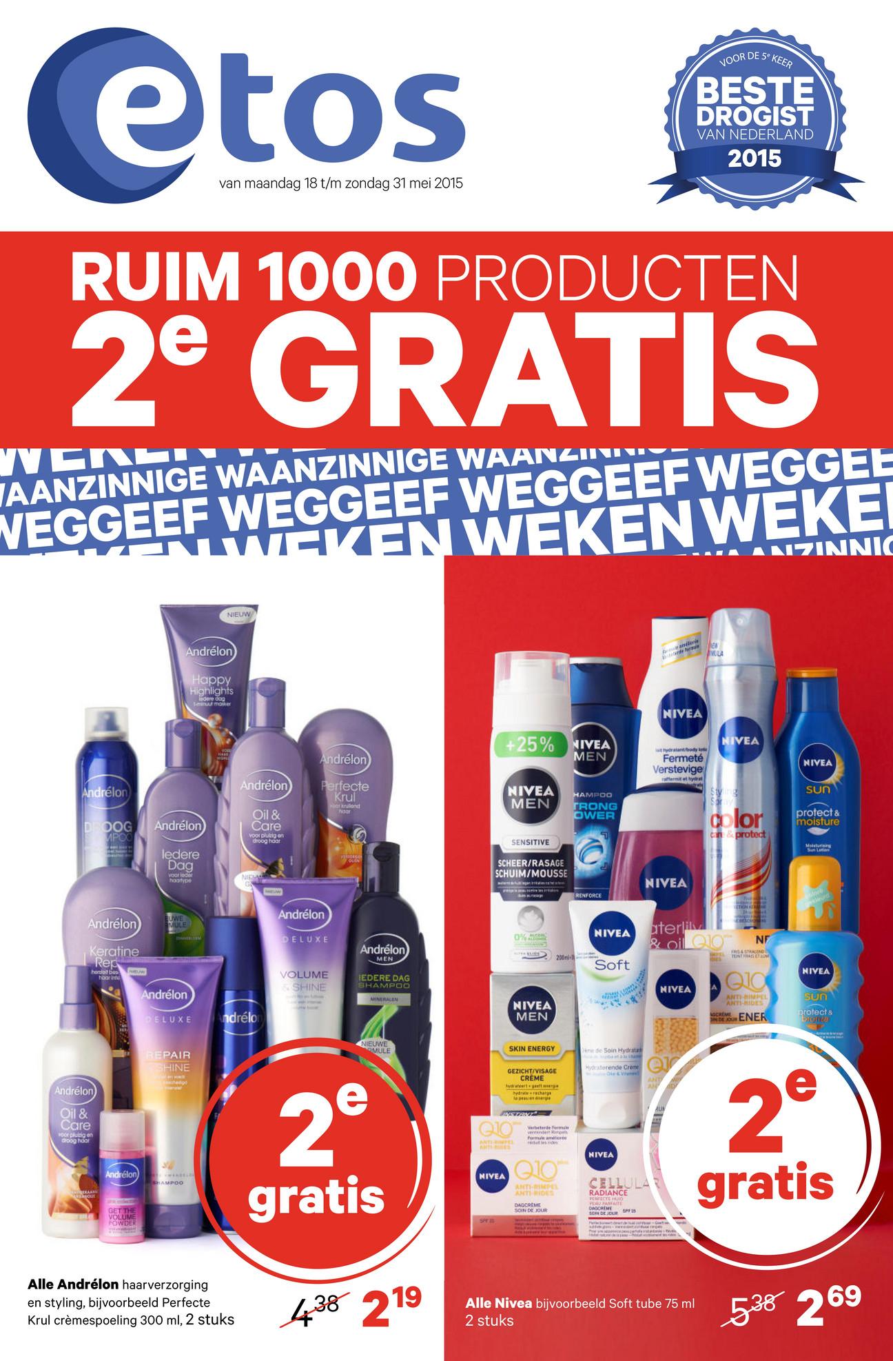 2e gratis op ruim 1000 prodocuten en parfum aanbieding @ Etos