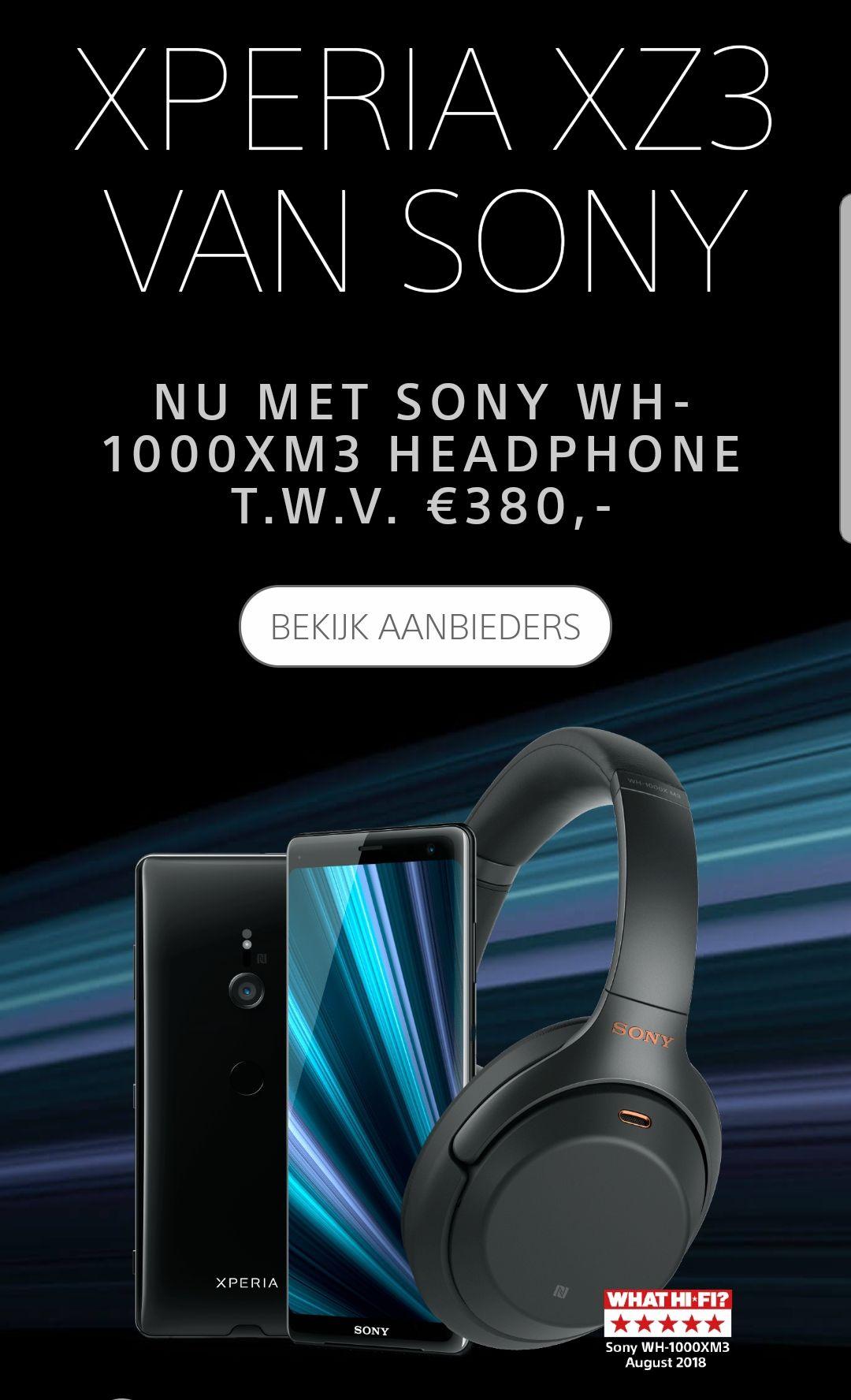Gratis Sony WH-1000XM3 headphone bij aankoop van Xperia Z3