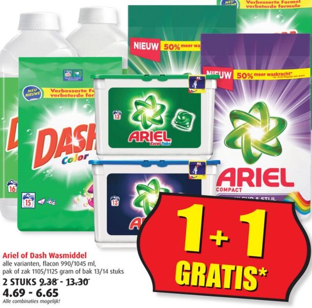 1+1 gratis op Ariel of Dash wasmiddel || Boni