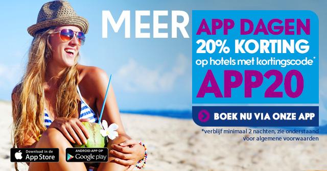 20% korting op hotelboekingen @ Ebookers App