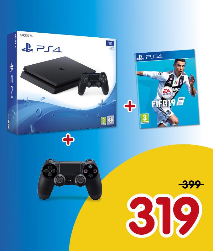PS4 Slim 1TB + 2 Dualshock 4 Controllers + FIFA 19 voor €319 @ FUN