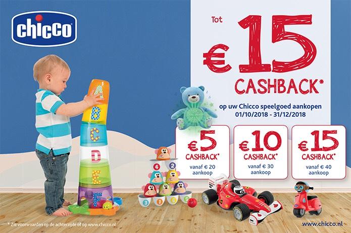 Chicco cashback tot wel 15 euro.