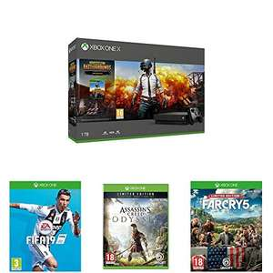 Xbox One X 1TB + FIFA 19 + PlayerUnknowns Battlegrounds + Assassins Creed Odyssey Limited Edition + Far Cry 5 Limited Edition voor 457€ (Amazon.co.uk)