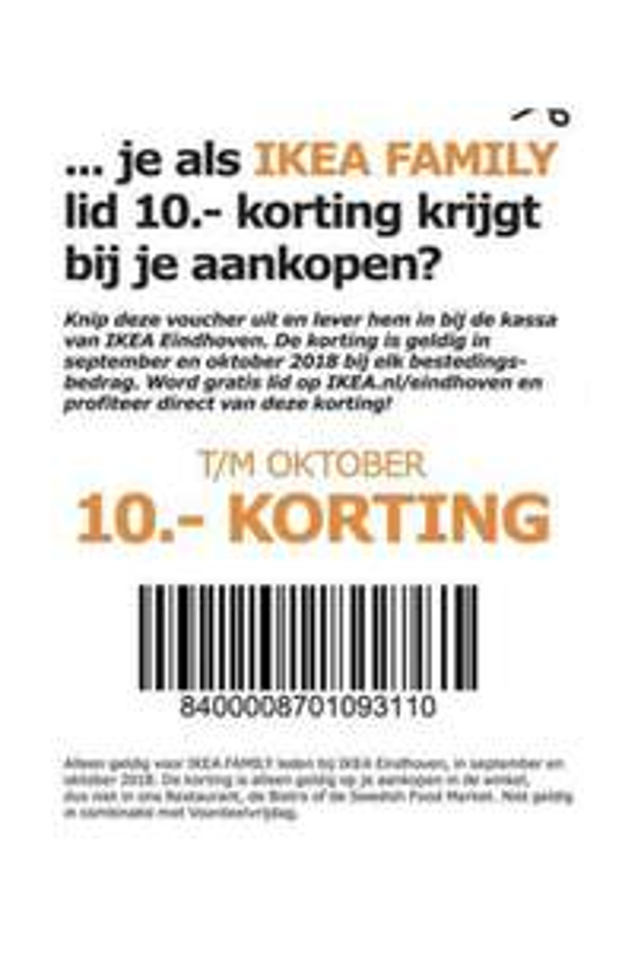 10 euro korting zonder minimum besteding bij IKEA Eindhoven