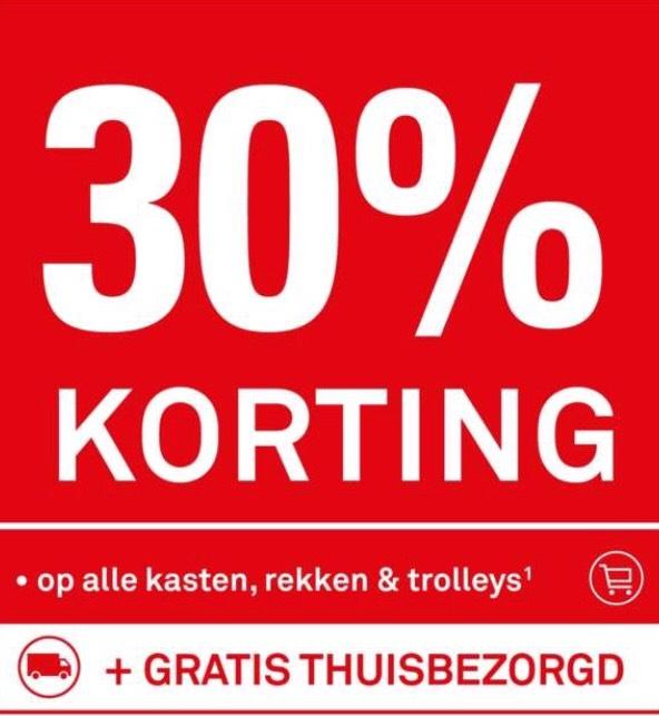 Karwei weekendactie: op alle kasten, rekken en trolleys 30% korting en gratis verzending