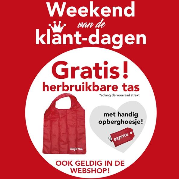 Dit weekend een gratis  herbruikbare tas bij elke aankoop in winkel en webshop @ Bristol