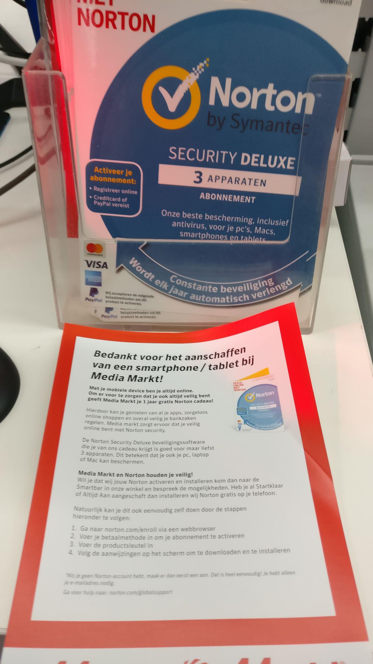 Gratis Norton antivirus (1jaar) bij aanschaf van een smartphone of tablet @Mediamarkt Amersfoort