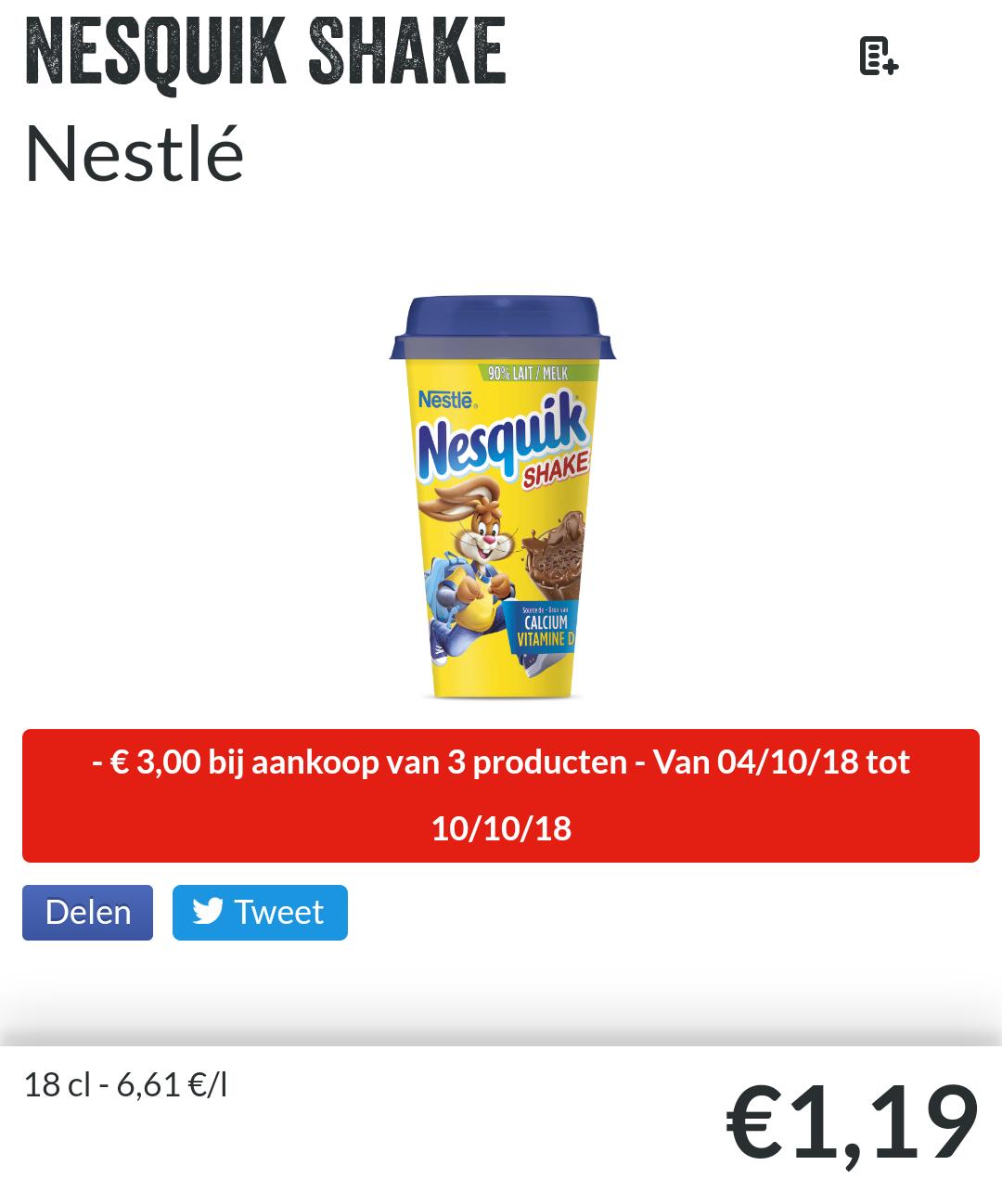 [Grensdeal België] Nesquick shake voor €0,19 en ontbijtgranen voor €1,20
