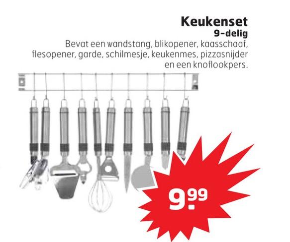 9 delige keukenset voor maar €9,99 @Trekpleister