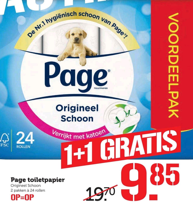 24 rollen page toiletpapier 1+1 gratis bij de COOP