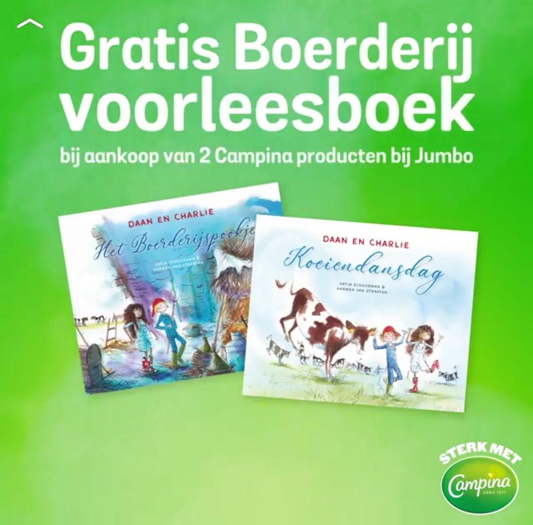 Gratis boerderij voorleesboek  Bij aankoop van 2 Campina producten bij Jumbo