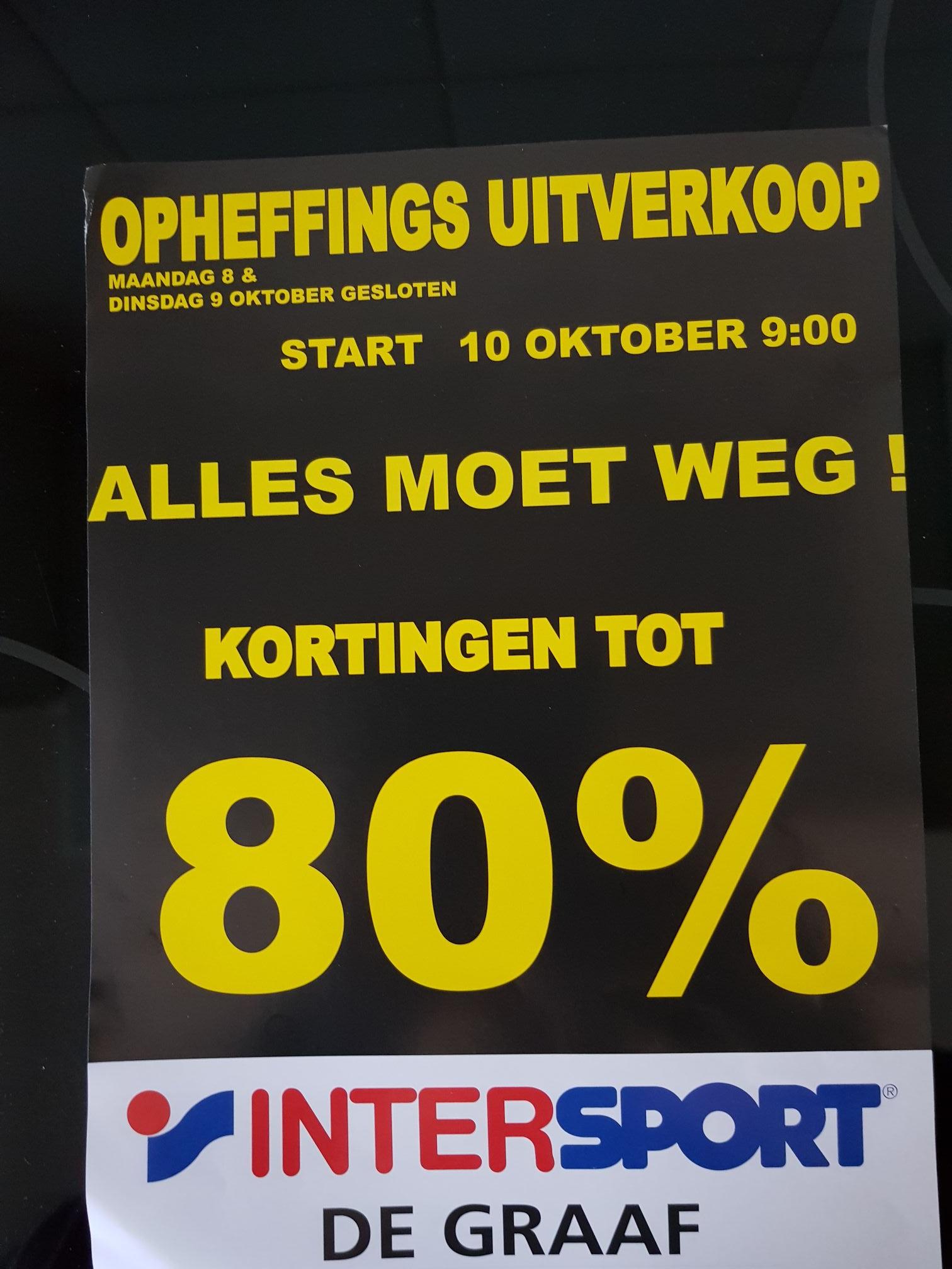 Opheffings uitverkoop bij Intersport Schagen vanaf woensdag 10 oktober.