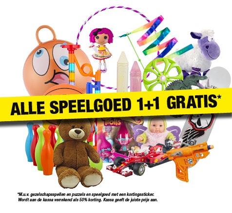 Al het speelgoed 1+1 gratis bij big bazar