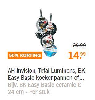 AH Invision, Tefal Luminens, BK Easy Basic koekenpannen of AH Braadpannen -50% @ AH