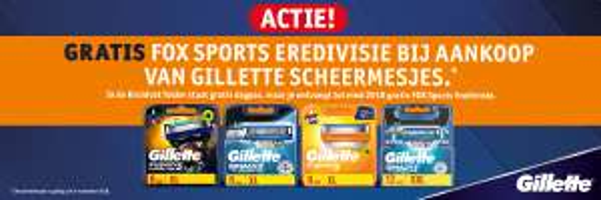 FOX Sports Eredivisie tot eind 2018 gratis bij aankoop van Gillette scheermesjes + 25% extra korting @ Kruidvat