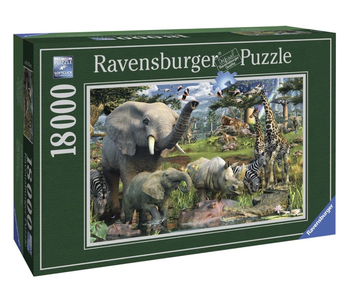 "Ravensburger puzzel ""Bij de drinkplaats"" 18000 stukjes @Bol.com"