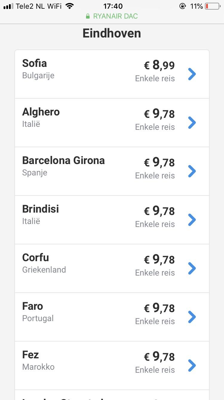 Ryanair vliegtickets 8 tot 10 euro.