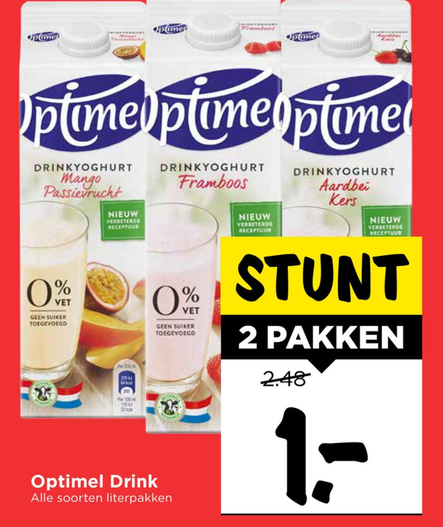 2 pakken optimel drinkyoghurt (1L) voor €1 @vomar