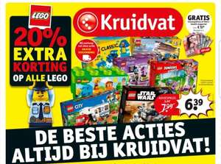 @Kruidvat, 20% extra korting op alle lego en gratis verzending