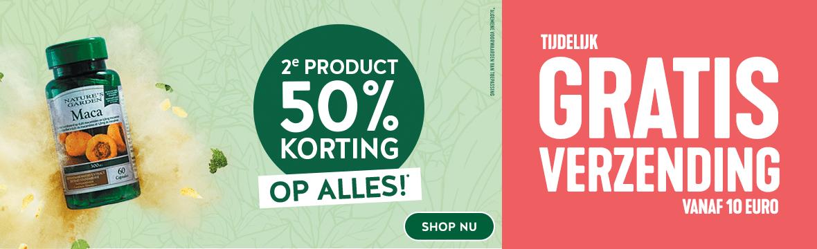 2e product 50% korting op alles + gratis verzenden vanaf 10 euro @ Holland & Barrett