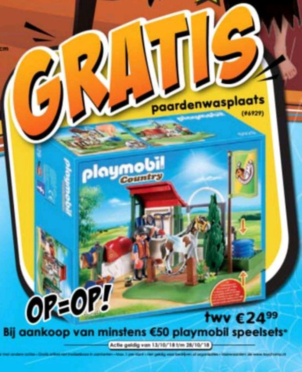 Gratis playmobil paardenwasplaats twv 24,99 bij aankoop van tenminste 50 euro aan playmobil speelsets bij Toy Champ
