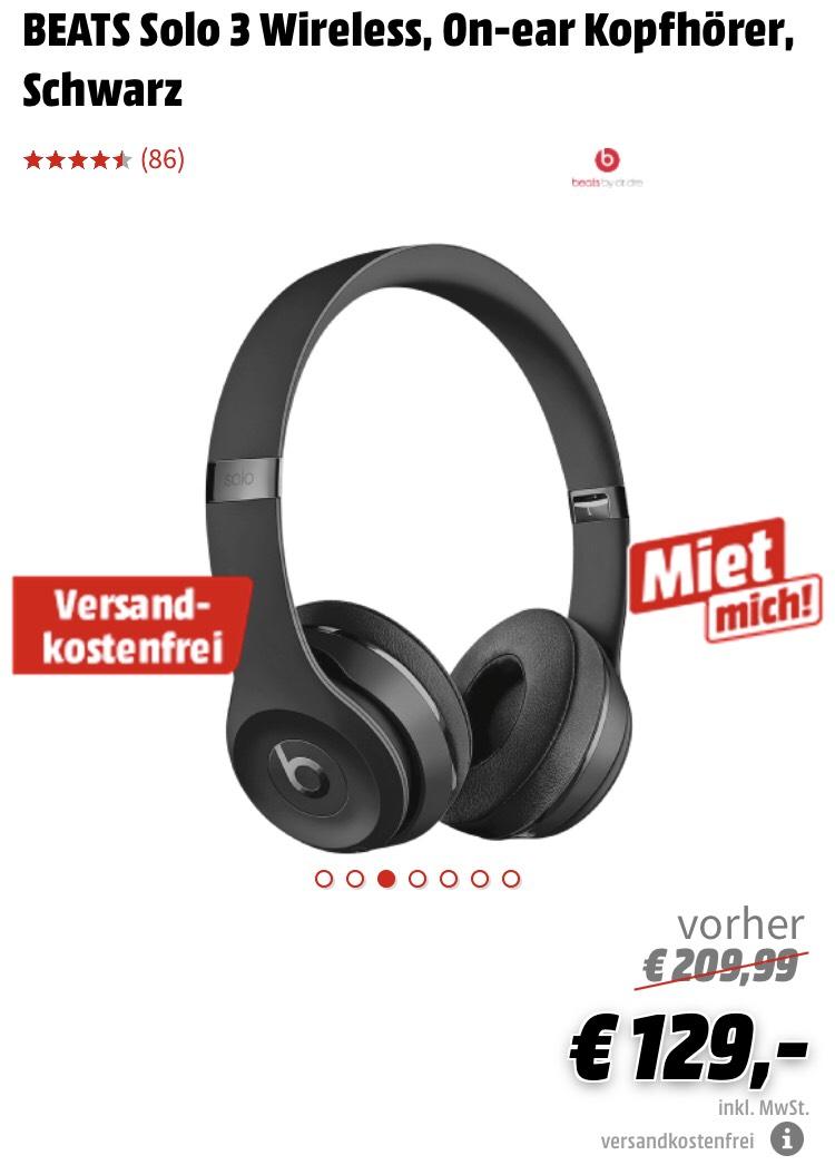 [Grensdeal] Beats Solo 3 wireless on-ear Zwart @Mediamarkt.de