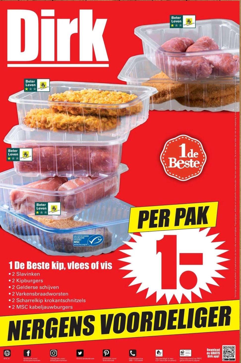 Bij Dirk: Kip, vlees of vis 1 euro per pak