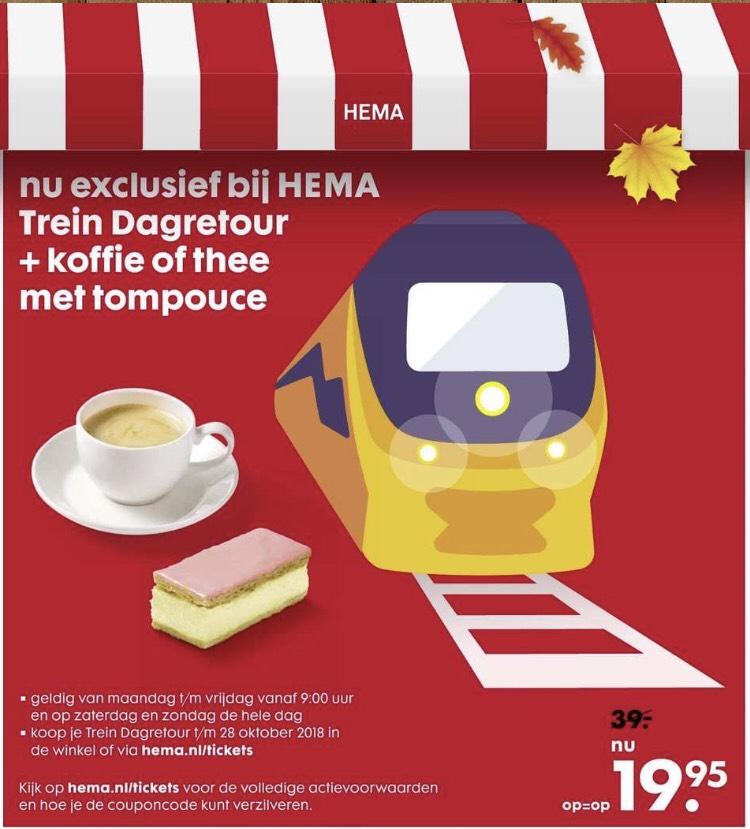Hema dagretour trein incl koffie/thee met tompouce @HEMA