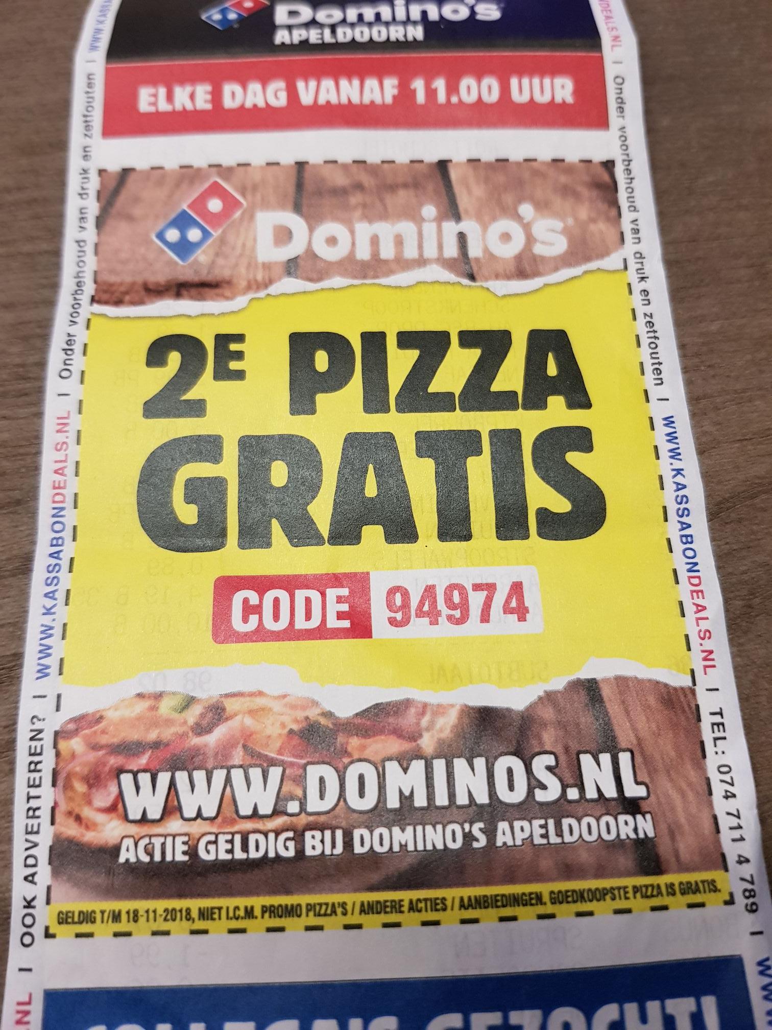 2e pizza gratis @ Domino's Apeldoorn
