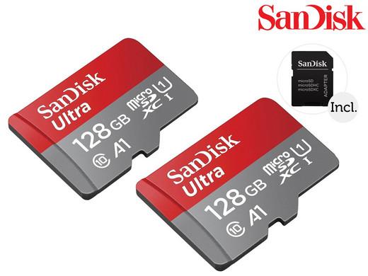 2x SanDisk 128GB microSDXC + SD-adapter voor €42,90 (met code €32,90) @iBood