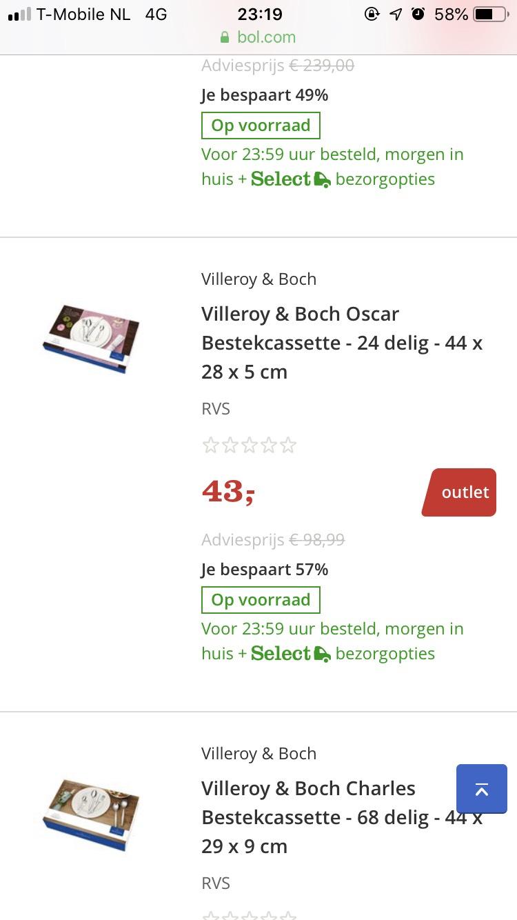 Villeroy en Boch bestekcassetes vanaf €43,00
