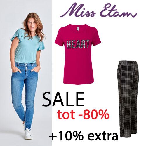 Sale tot -80% + 10% extra + gratis verzending t.w.v. €4,95 @ Miss Etam