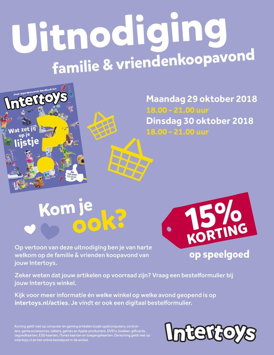 15% korting op speelgoed bij Intertoys op Familie & Vriendenkoopavond