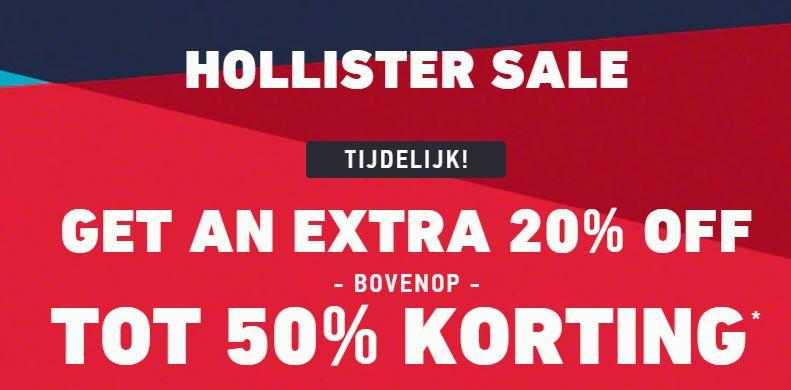 Actie: 20% extra korting op de sale + gratis verzending va €50 @ Hollister