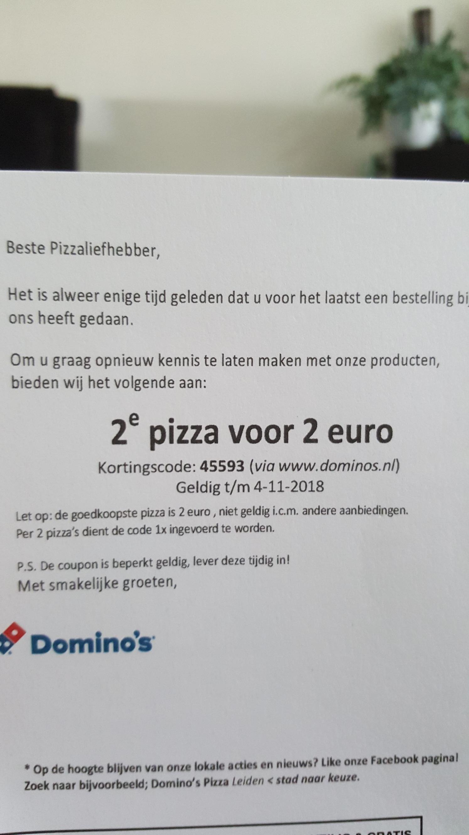 2e Pizza 2 euro bij Domino's