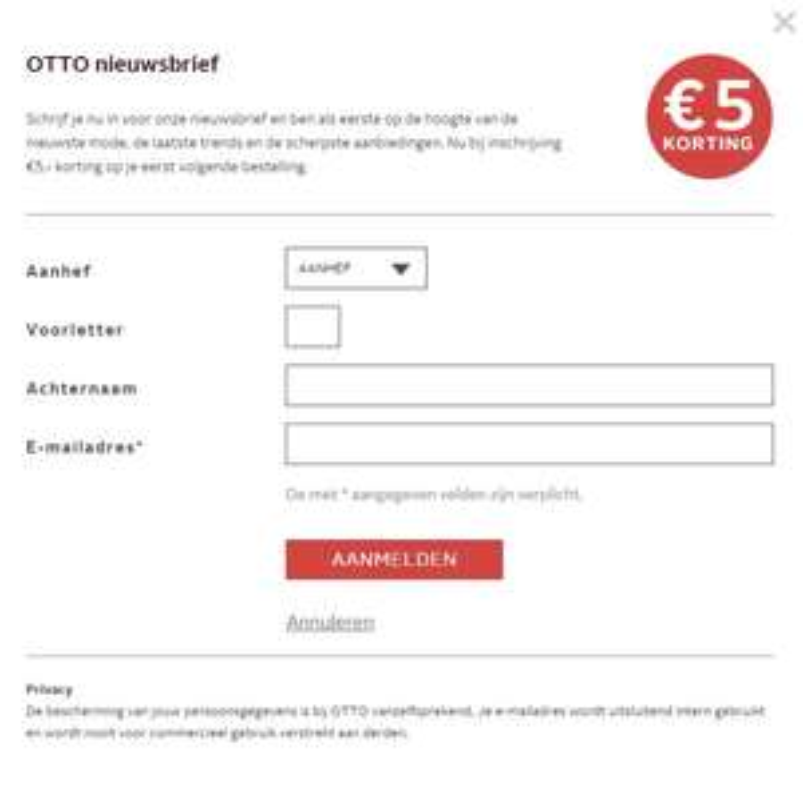 E 5 korting bij nieuwsbrief inschrijving Otto.nl