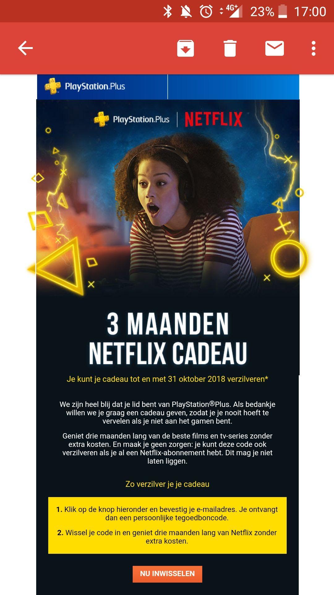 3 Maanden Netflix cadeau bij een bestaand PS Plus account! (geselecteerde accounts)